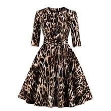 Women Elegant Animal Pattern Vestido 1950s Swing Sexy Robe 3/4 Sleeve Zipper Decor Belt Open Pocket Leopard Print Vintage Dress alluring jewel neck leopard pattern open back dress for women