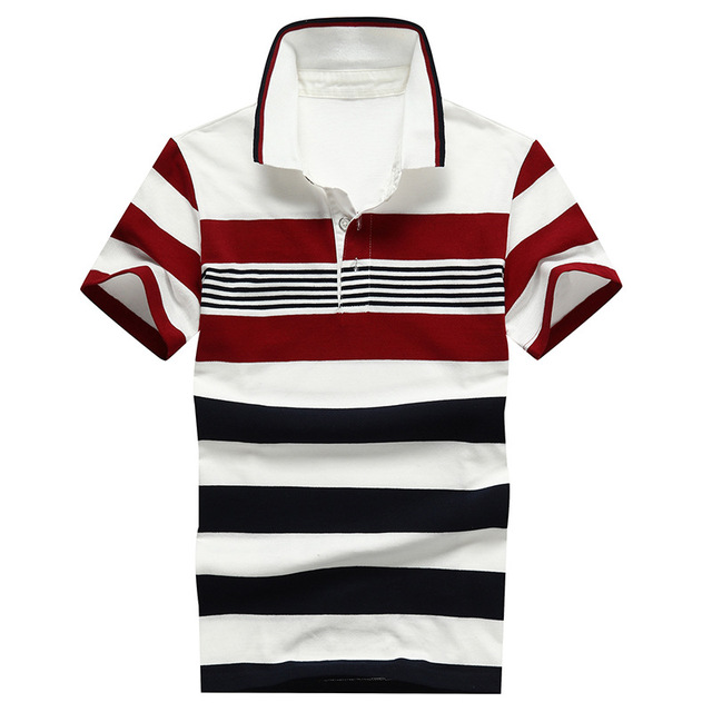92% Cotton camisa Men Polo Shirt  2015 Casual Striped Slim short sleeves ASIAN SIZE M-4XL 3