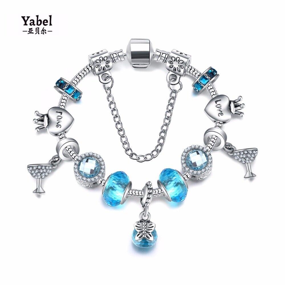Yabel модные европейские бусы аксессуары ручной работы Браслеты и браслеты серебро Корона Любовь Сердце браслет для Wonder Для женщин
