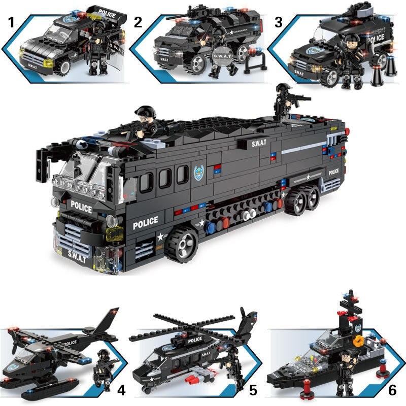 1092 個子供の教育ビルディングブロック玩具互換 Legoingly 市 6in1 携帯戦闘バス DIY フィギュアレンガ少年ギフト  グループ上の おもちゃ & ホビー からの モデル構築キット の中 3