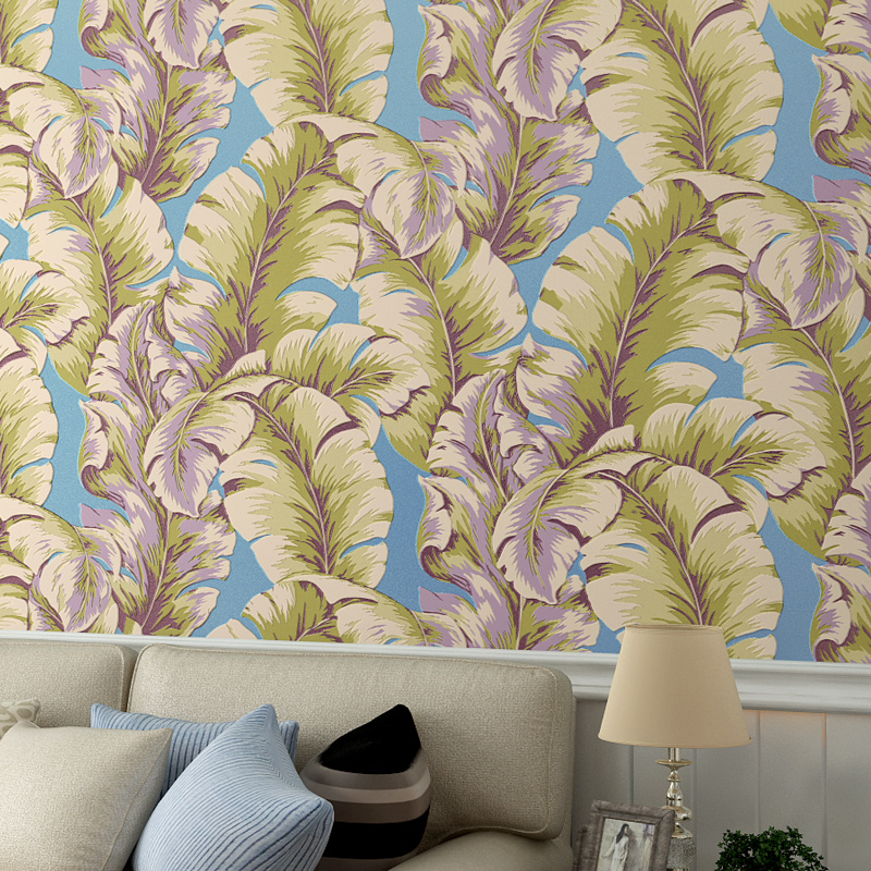 Wallpaper Non-woven 3D Stereoscopic Wall Paper for Walls Banana Leaf Wallpaper Roll for TV Background murales de pared 3d rustic wallpaper 3d stereoscopic wallpaper roll non woven pastoral wallpaper for walls bedroom wall paper pink for living room