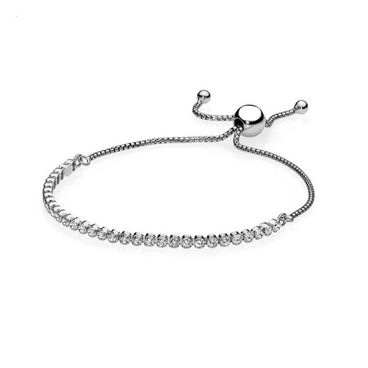 925 Sterling Silver Pandora Bracelet Classic Tennis Sparkling Strand Adjust Bracelet Bangle Fit Women Bead Charm Diy Jewelry