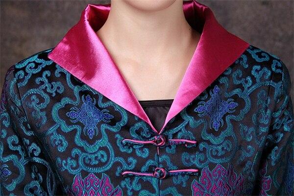 S Saveur Impression Chinois Longue Satin cou Manteau Poitrine Taille De Remise Veste À Femmes Style V Unique Costume Bleu 4xl Classique 1qqwUA