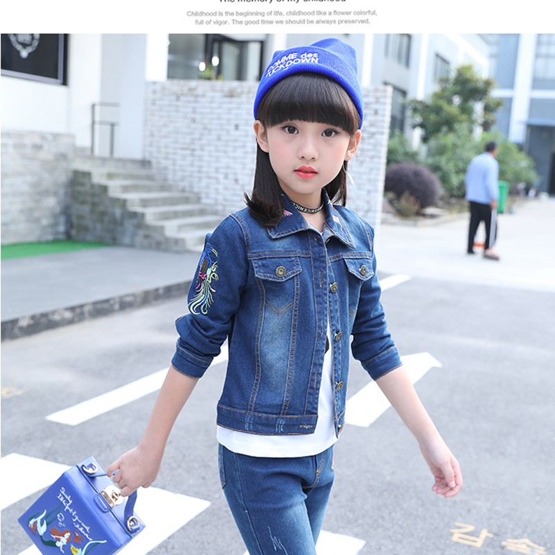 jean autumn winter girls Girls Clothes Sets 5 7 8 10 12 Years Children Clothing Winter Kids Fashion Autumn 2 Pieces  jean sets dhl equick ems shipping 6 sets girls clothing sets lots fashion kids clothing sets 2017 top jean pant 2pcs girls clothes sets