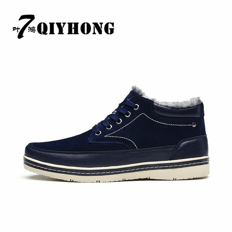 Men's Shoes Qiyhong Luxury Brand Fashion Mens Boots Winter Snow Boots Feet Thick Plush Warm Lace Cattle Suede Casual Shoes Man39-45 Demand Exceeding Supply