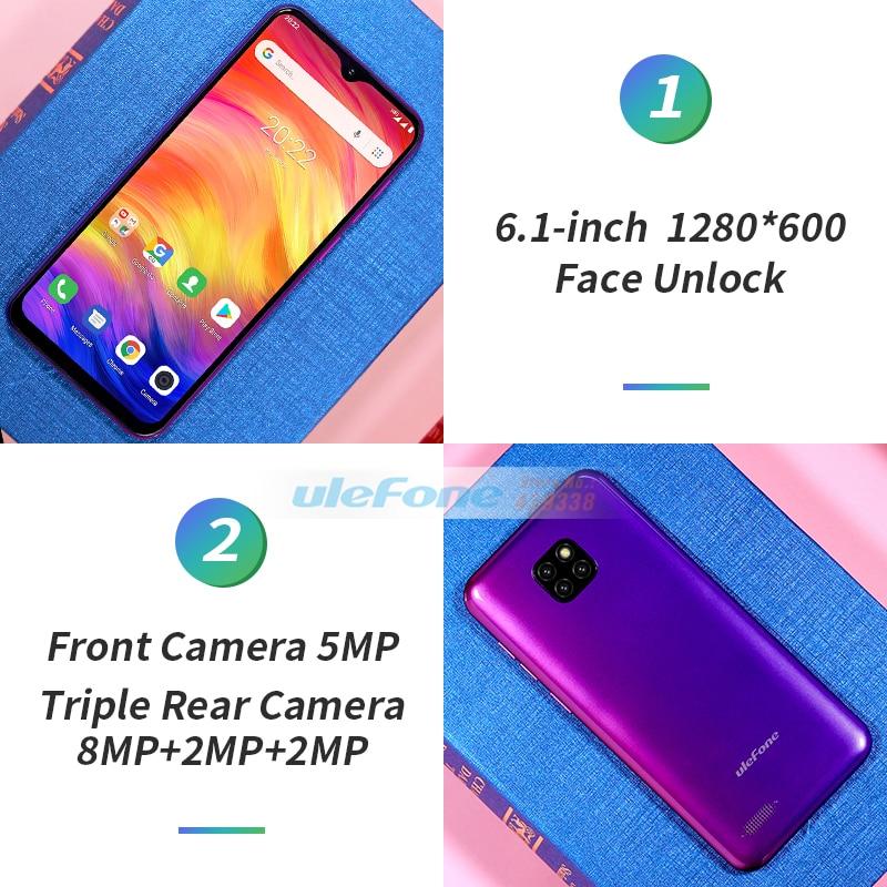 Ulefone 注 7 スマートフォン 6.1 インチ 1 ギガバイトの RAM 16 ギガバイト ROM MT6580A クアッドコア 3500mAh 顔 Id 3 リアカメラ Android 行く携帯電話  グループ上の 携帯電話 & 電気通信 からの 携帯電話 の中 3