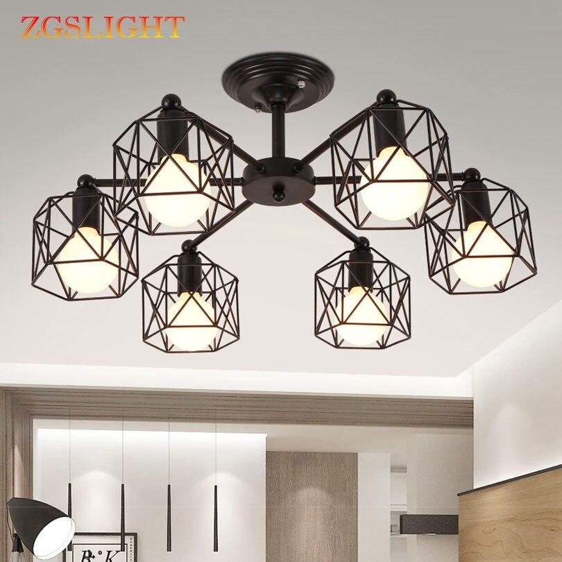 Винтажные люстры несколько стержней кованый железный потолочный светильник E27 лампы Гостиная потолочные люстры для дома осветительных при
