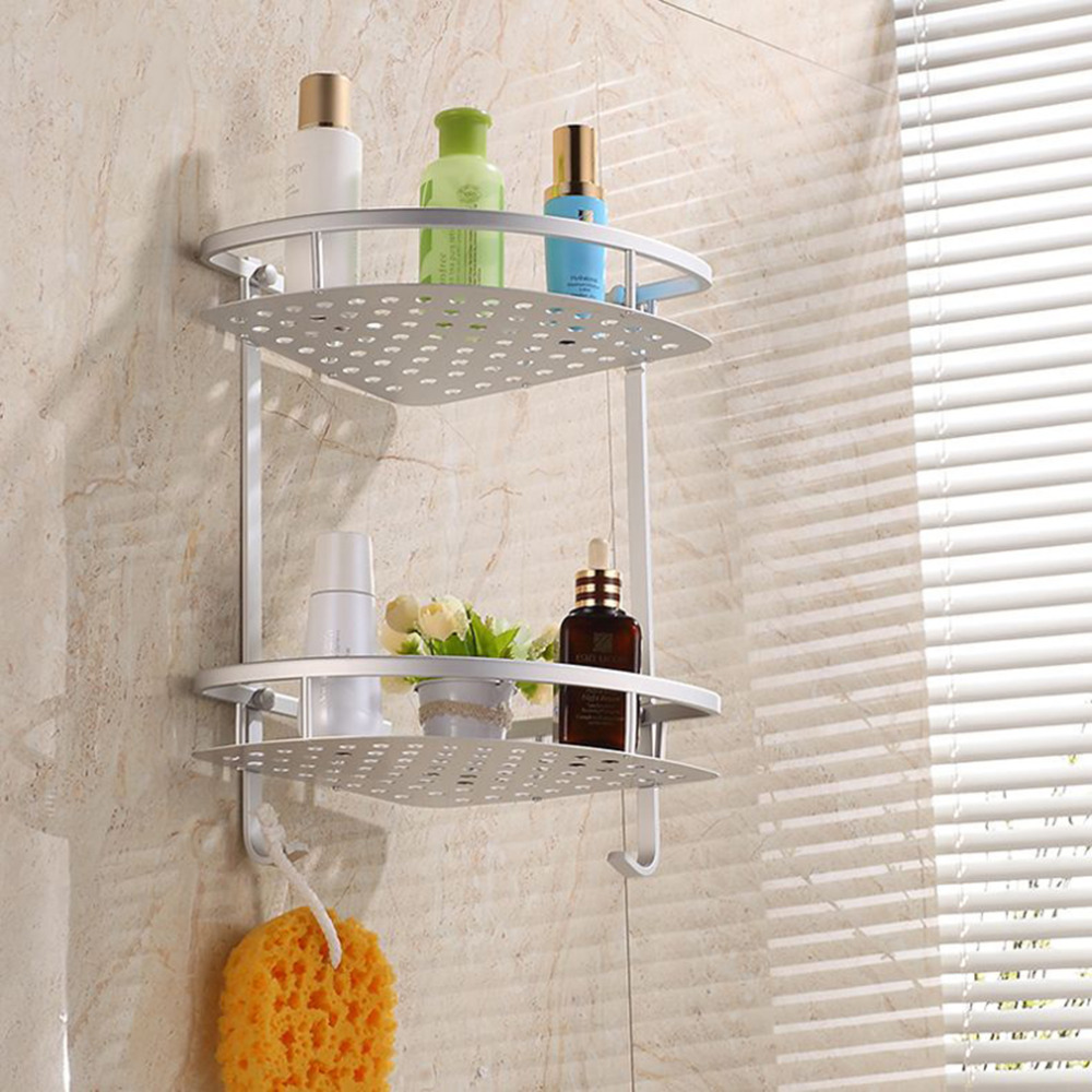 Silver Double Layer Wall Mounted Bathroom Rack Towel Holder Shower ...