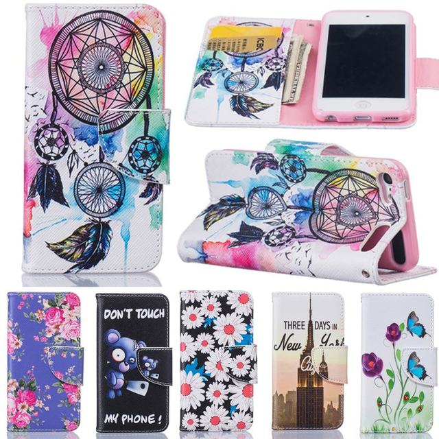 reputable site a8e56 7e2d7 US $4.88 |For Coque iPod Touch 5 Flip Cases For Girls Leather Wallet Phone  Case For iPod Touch 6 Case Card Slot Dream Catcher Cover Stand-in Wallet ...