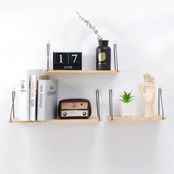 Nordic Wooden Wall Shelf Iron Partition Board Bedroom TV Wall Hanging Storage Shelf Rack for Home & Living Room Decoration