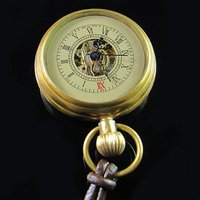 hot Good Brass Antique Small Pocket Watch+Leather Chain