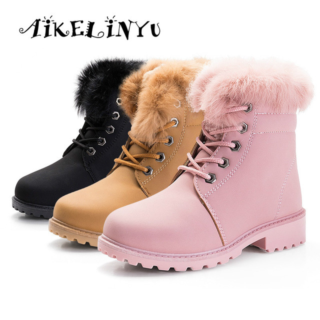 Winter Girls Boys Snow Shoes Kids Boots Plush Cotton Lined Rabbit Skin Warm  Booties Fashion Children Big Girl Waterproof Boots f75c8d3a50c9