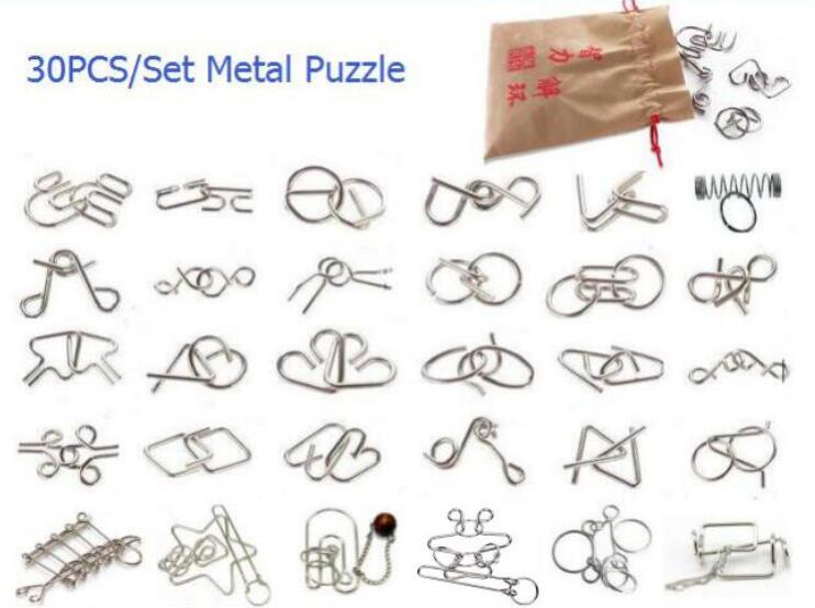 Nova 30 PEÇAS por Conjunto Fio de Metal Disentanglement Puzzle Magia IQ Cérebro Teaser Puzzles Jogo para Adultos E Crianças