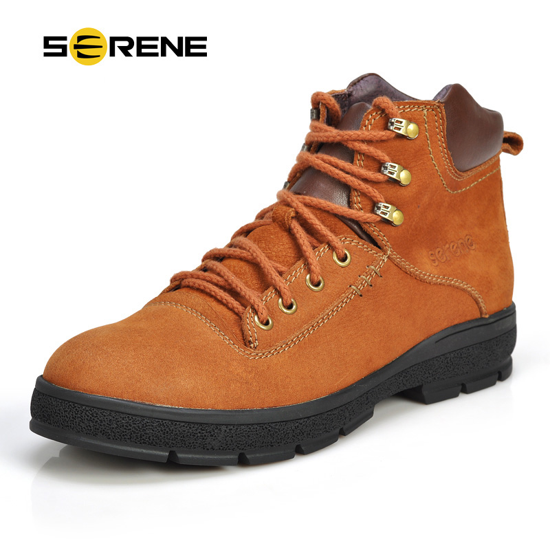 SERENE Brand New Arrival Men Boots Winter Boots British Style Desert Boots  Lace Up Snow Shoes With Cow Leather Boots 3170