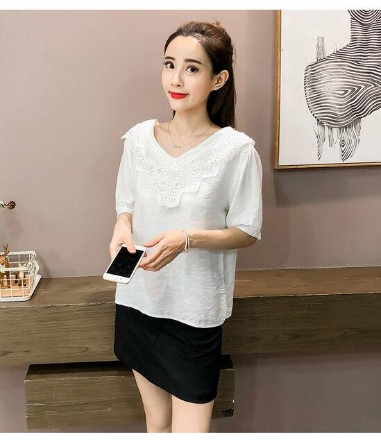 a06dfa7f34185f Kobiety Blusa Mujer bluzki damskie koszulki z krótkim rękawem 2018 nowa  moda szyfonowa stałe Blusas z