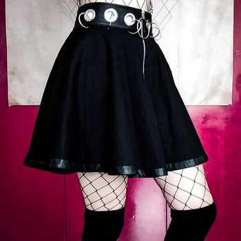 InstaHot Gothic Punk Zip Up Black Skirts Women Autumn Ring High Waist Pleated Winter Mini Skirt Female Bottom Sexy Christmas 2