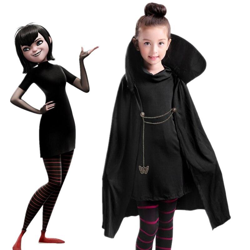 Cartoon Hotel Transylvania Mavis Cosplay Kostuum Fancy Meisjes Zwarte Cape Jas Met T-shirt Broek Halloween Carnaval Kostuum