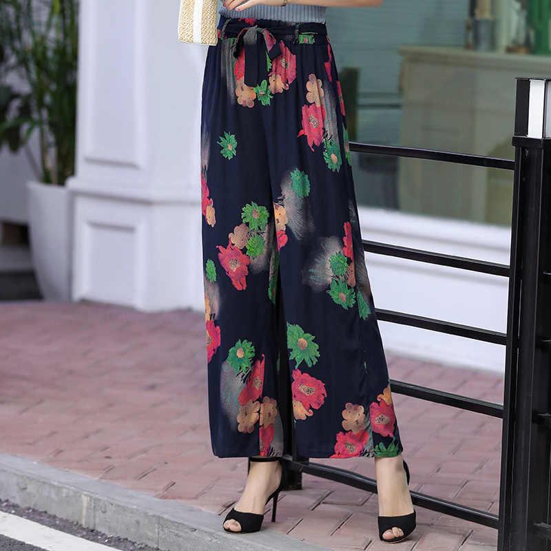 Print Belted Wijde Pijpen Broek Vrouwen Elegante 2019 zomer Losse Plus Size 5XL Elastische taille High Street Broek