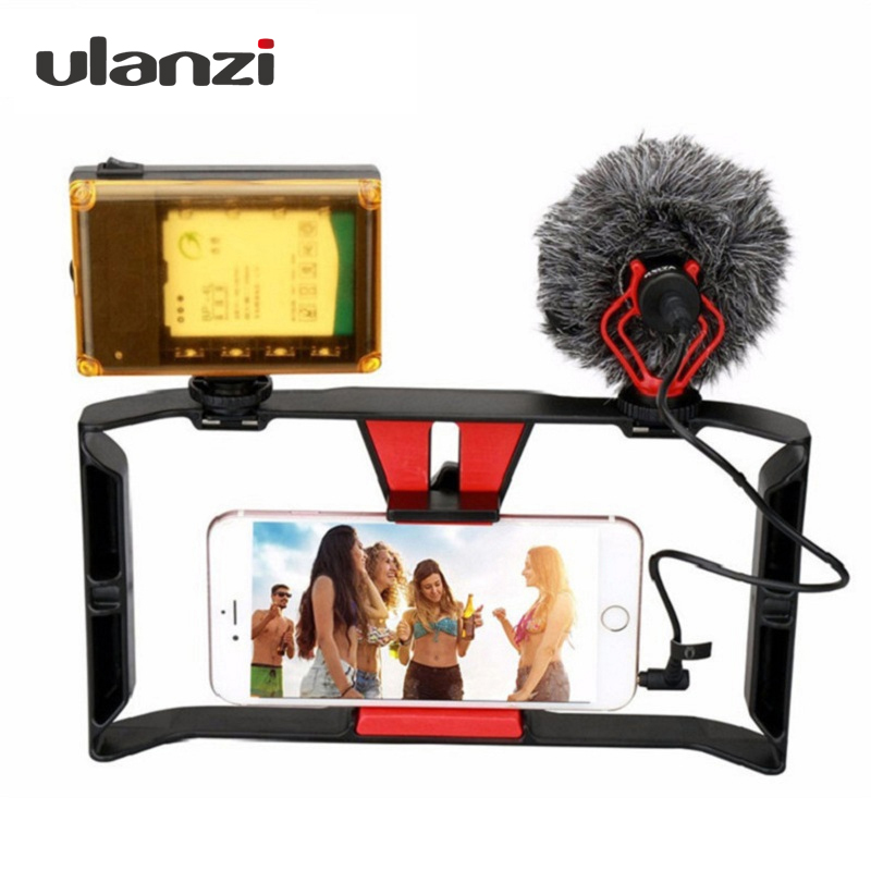 все цены на Ulanzi Handheld Phone Vlogging Setup Video Stabilizer with LED light,Microphone for iPhone 8 7plus for Youtube Video Filmmaking онлайн