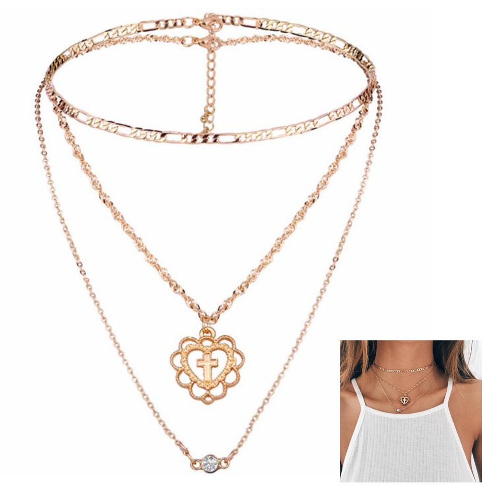 European and american big simple womens multi layer cross heart european and american big simple womens multi layer cross heart diamond pendant necklace suit fashion street shooting cx592 in choker necklaces from aloadofball Images