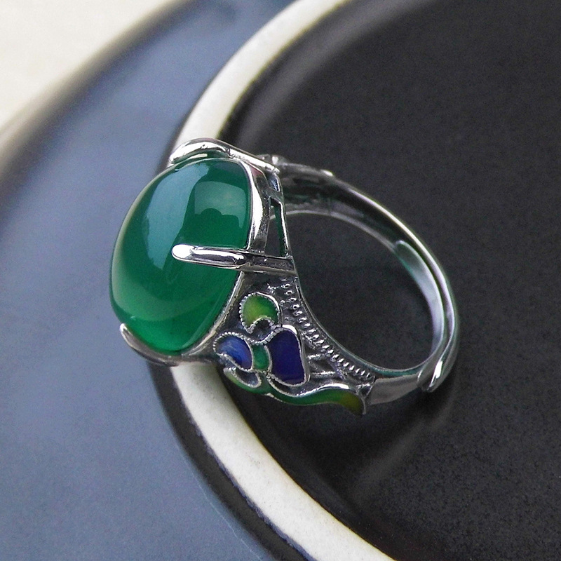 FNJ Open Size Natural Green Stone Cloisonne 100% Pure 925 Sterling Silver Rings for Women Jewelry S925 Thai Silver Ring LR75 925 pure silver jewelry vintage green natural stone thai silver female royal wind ring rich