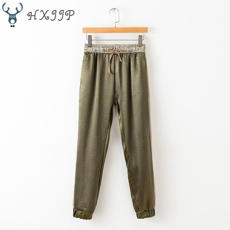 HXJJP2019 Spring and Summer New  Jigsaw Jogging Pants Women