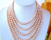 huij 001991 LONG 100 8 9MM PINK ROUND FRESHWATER CULTURED PEARL NECKLACE