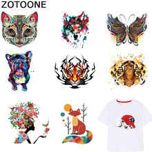 ZOTOONE Cute Animal Patches Colorful Stickers Iron on Patch for Kids Clothes T-shirt Heat Transfer Accessory Appliques F1