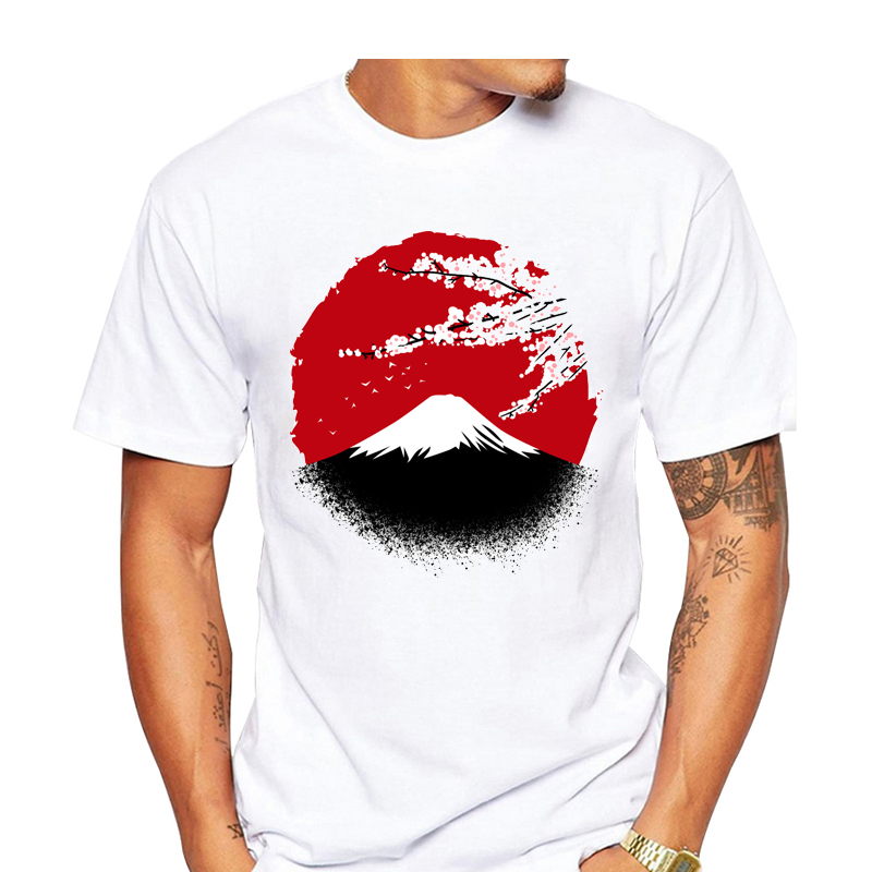Men s T Shirt Mount Fuji and Cherry Blossom Artsy Japanese Scenery Tee and font b