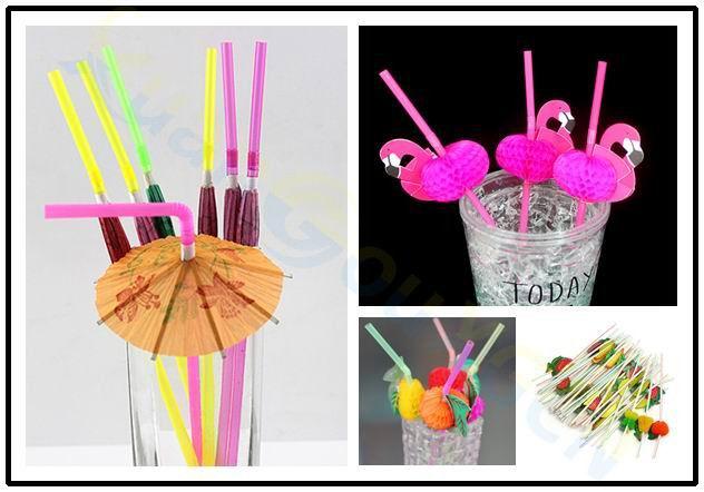 1600pcs disposable Cocktail Drinking Straws Wedding Hawaiian Umbrella Flamingo Straw Decoration beach Party Event Supplies