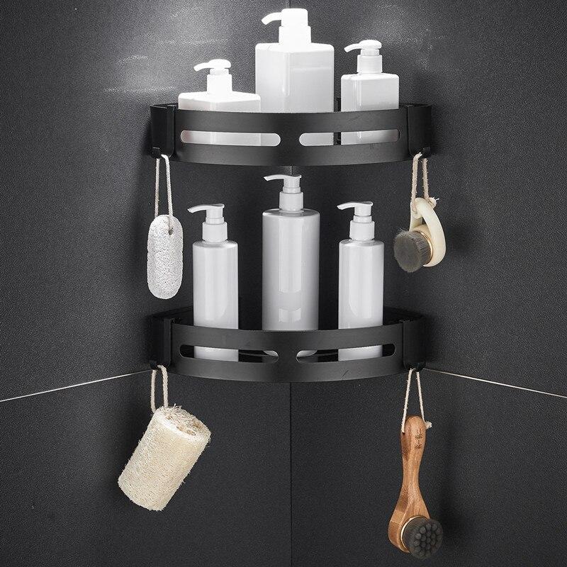 LIUYUE Bathroom Shelve Aluminum Black/Silver Corner Wall Shelf Shampoo Storage Rack Bathroom Basket Holder Bathroom Accessories
