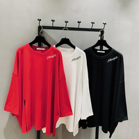 2019 Promotion Real Tumblr Korean T Shirt Women Cotton Casual Knitted Long Cloth Letter Printed O neck Batwing Sleeve Full