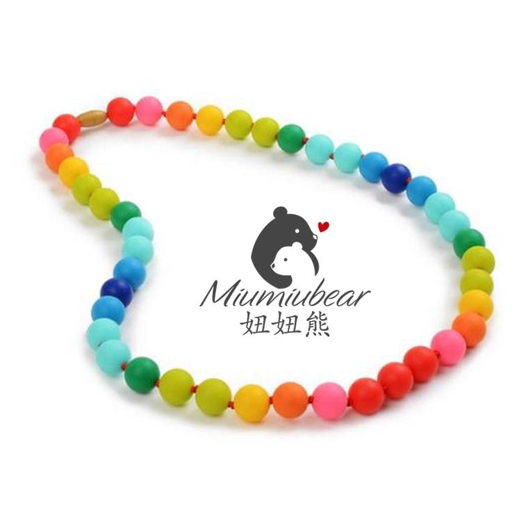 Baby silikon tenn halsband helt regnbåge pärla halsband tuggbar - Barnomsorg - Foto 2