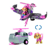 Paw Patrol dog skey Flip Fly Vehicle toys Can Have Fun With This 2-in-1 Transforming From Bulldozer to a Jet Kids
