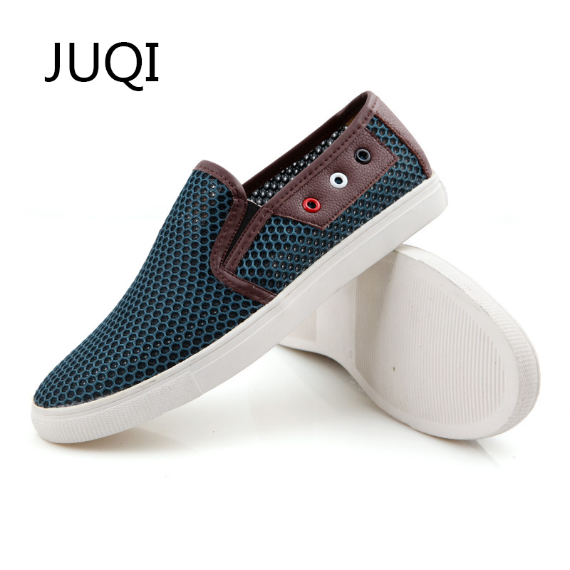 JUQI 2018 MenS Casual Shoes Men Shoe For Mesh Breathable Loafers Summer And Autumn Patchwork Light Rubber Shoes Mocassin Homme ...