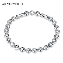 SILVERHOO 925 Sterling Silver Romantic Heart Chain Link Bracelets for Women Fine Jewelry Classic Romantic Wedding Bangles