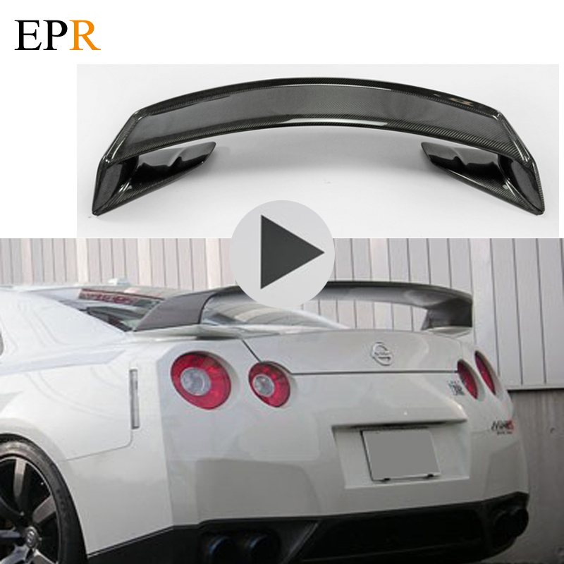 Car Accessories For Nissan <font><b>R35</b></font> <font><b>GTR</b></font> Mines Carbon Fiber <font><b>Rear</b></font> <font><b>Spoiler</b></font> With Base Car Styling GT-R MI Style Trunk Wing Part Bod Kit image