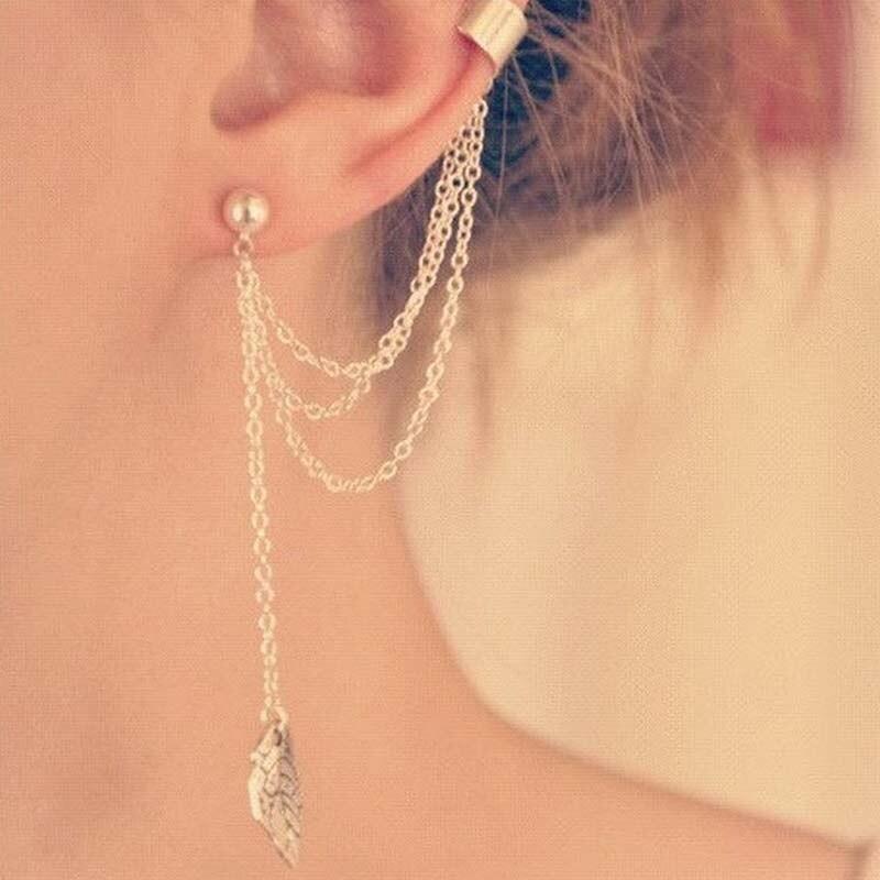 Personality Leaf Tassel Clip Earrings for Women Ear Cuff Bijoux Gold Silver Color Punk Earrings Pendientes Jewelry Gift EB667