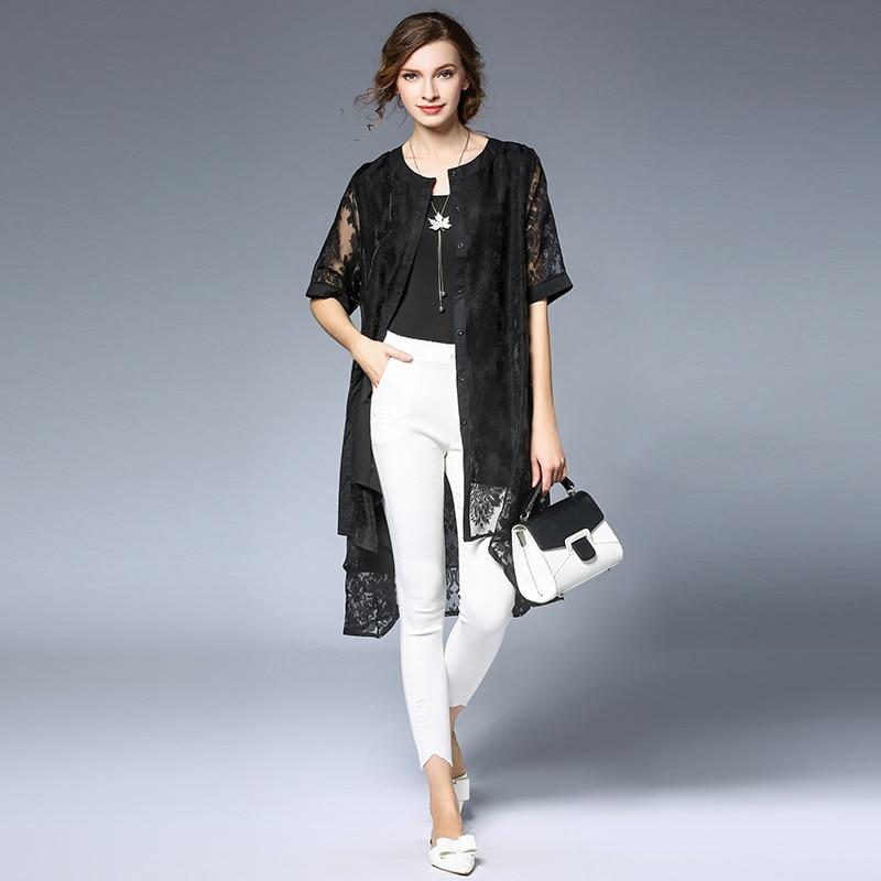 Manica Causale Plus Extra Stampa Outwears Estate 4xl Di Lunga Donna 4 Large Size Mezza Donne Europea Scava Fuori Trench2017 Lace w1qITCZ