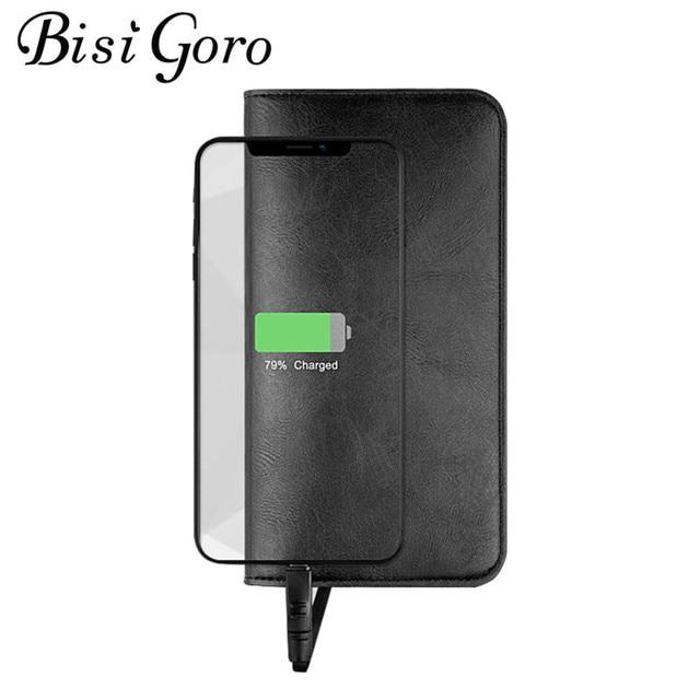 BISI GORO 2019 Unisex Lungo Astuta Del Raccoglitore USB per la Ricarica Del Raccoglitore Adattarsi Ipone Android E il Tipo-C Capacità di 6800 mAh Per Busines
