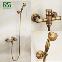 FLG Bathtub Faucets Bamboo Shower Faucet Mixer Tap Antique Bronze Brass Bath Shower Faucet Set Bathtub Faucet Torneira Bath 127