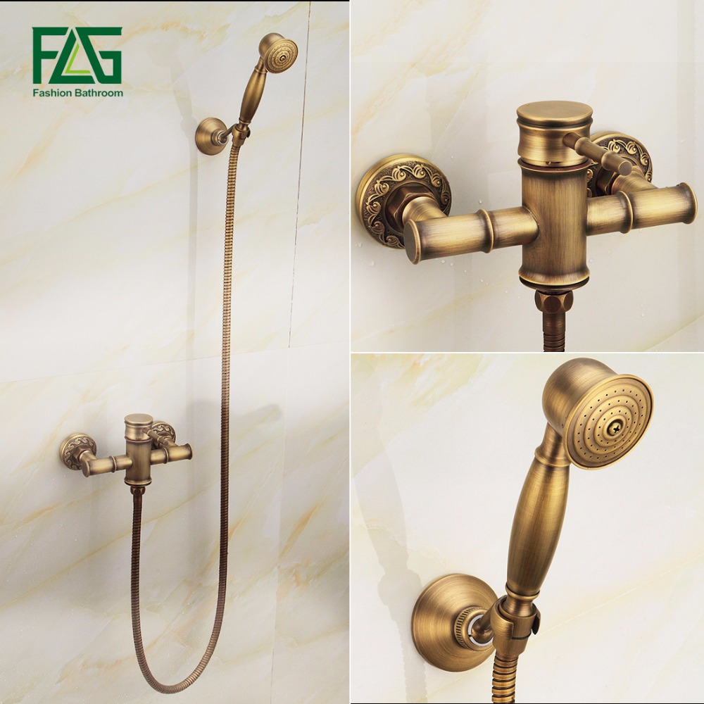 Free Shipping Wall Mounted Bath Shower Faucet Bath Tub Taps Bronze Antique Bath Mixer FLG40008A sognare new wall mounted bathroom bath shower faucet with handheld shower head chrome finish shower faucet set mixer tap d5205