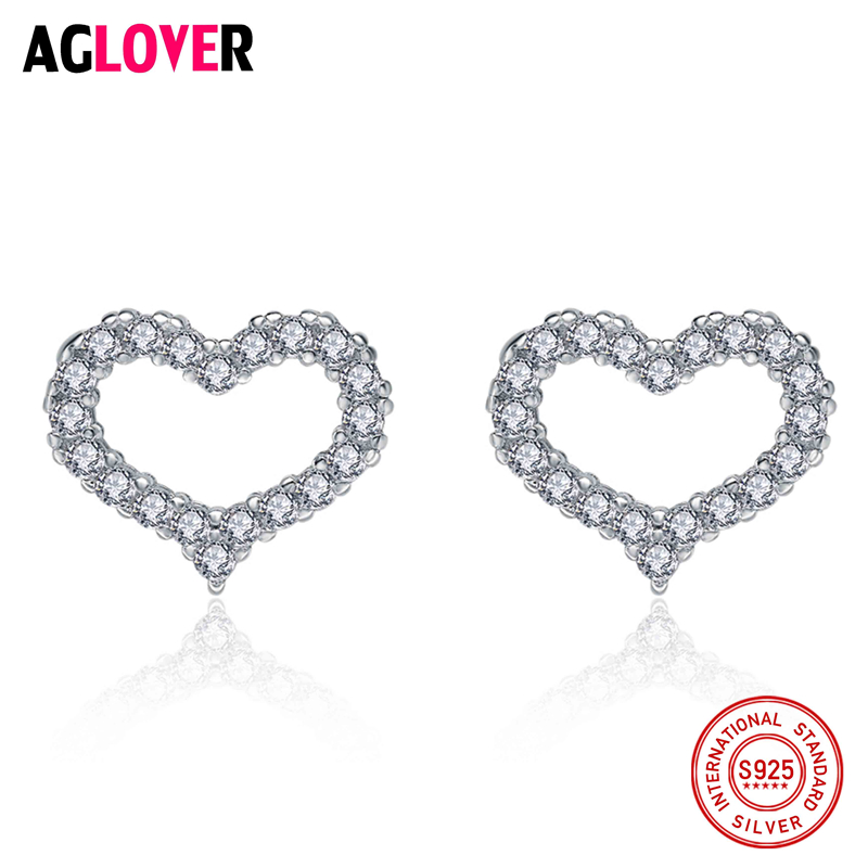 High Quality 100 925 Sterling Silver Romantic Heart Clear CZ Stud Earrings for Women 925 Silver Jewelry Gift in Earrings from Jewelry Accessories