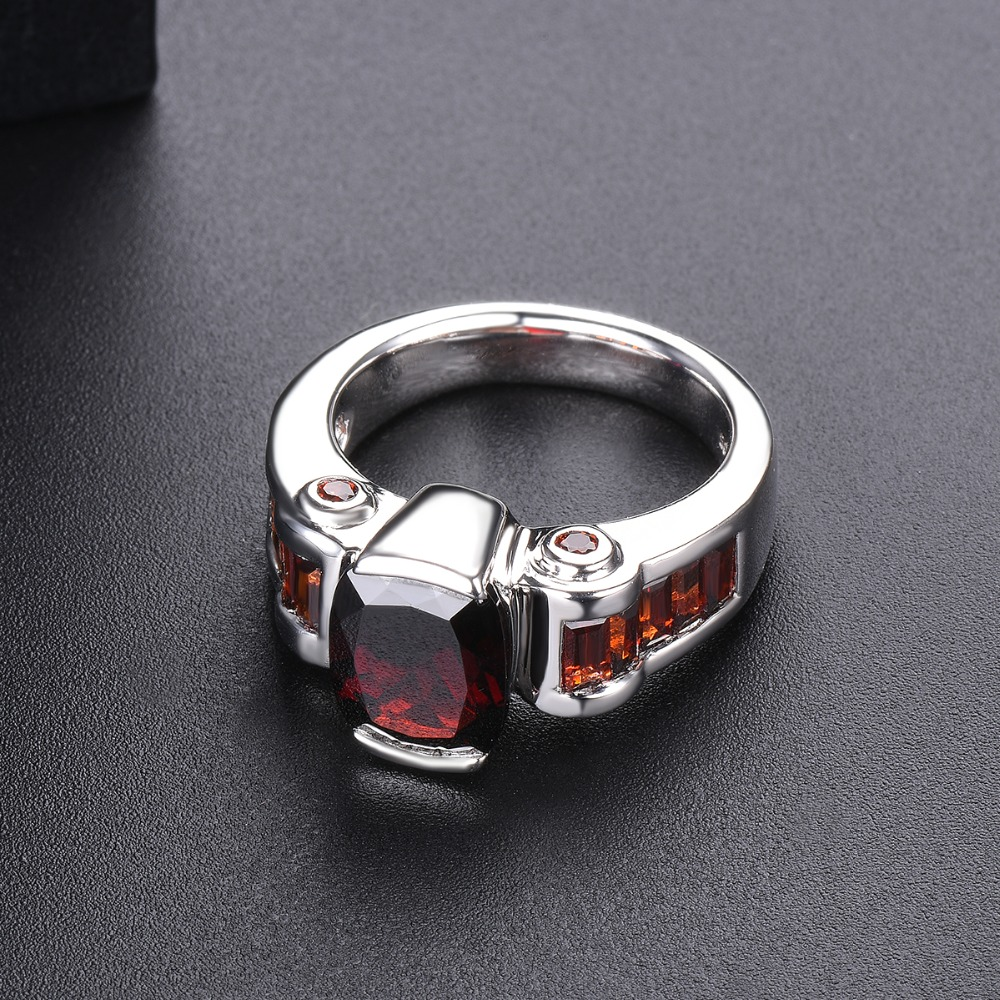 Hutang grenat anneaux de mariage bague en pierre naturelle solide 925 en argent Sterling lunette réglage bijoux de pierres précieuses fines pour les femmes filles nouveau - 3