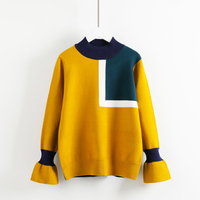 women winter thicken sweater fashion lady sweet flare sleeve ruffles patchwork pullovers o neck knitwear tops 0.5