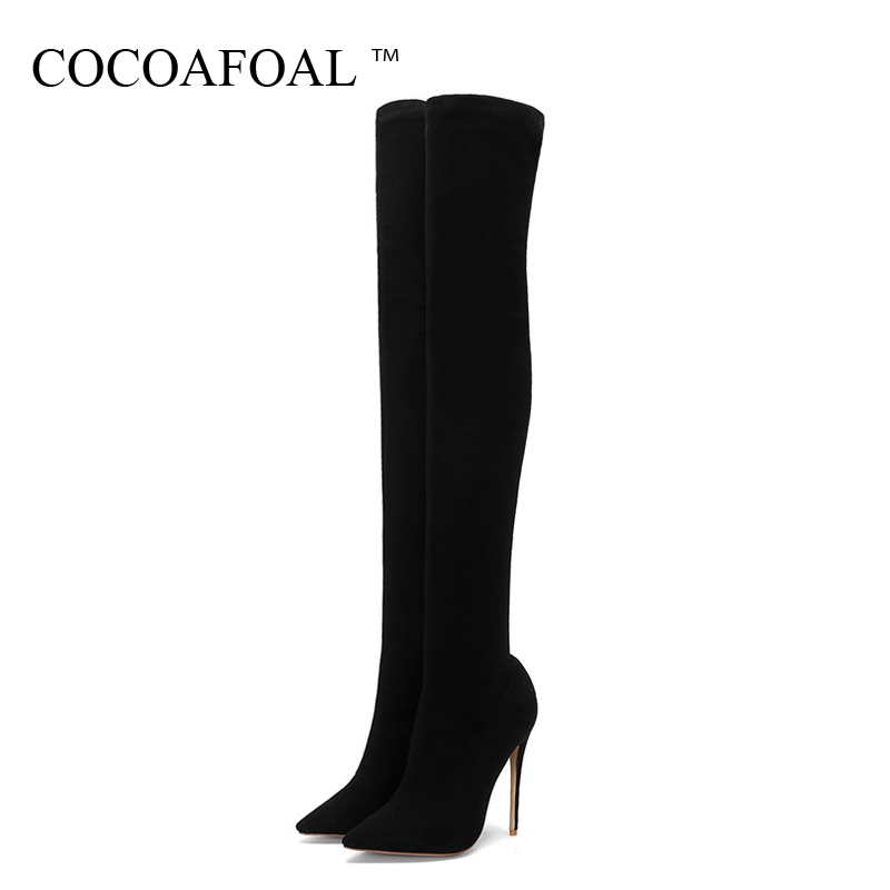 COCOAFOAL Winter Women's Over The Knee Boots Woman Thigh High Boots Autumn Fashion Black Plus Size 43 44 Women High Heeled Shoes мобильный телефон philips xenium e 181 черный