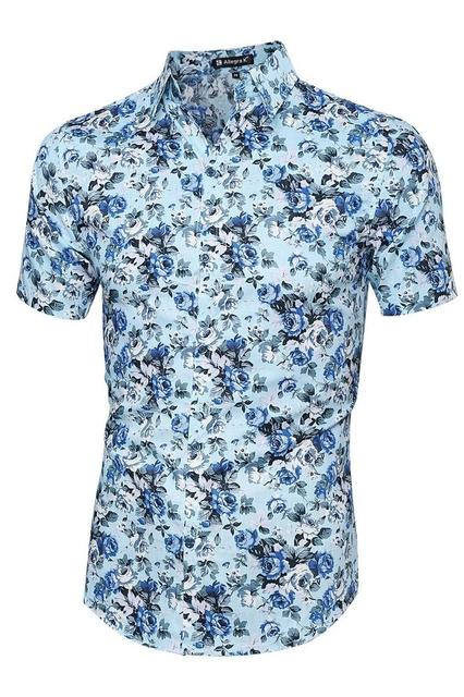 Ponto Collar Botão Manga Curta Para Baixo Padrão de Flor Camisa dos homens céu azul