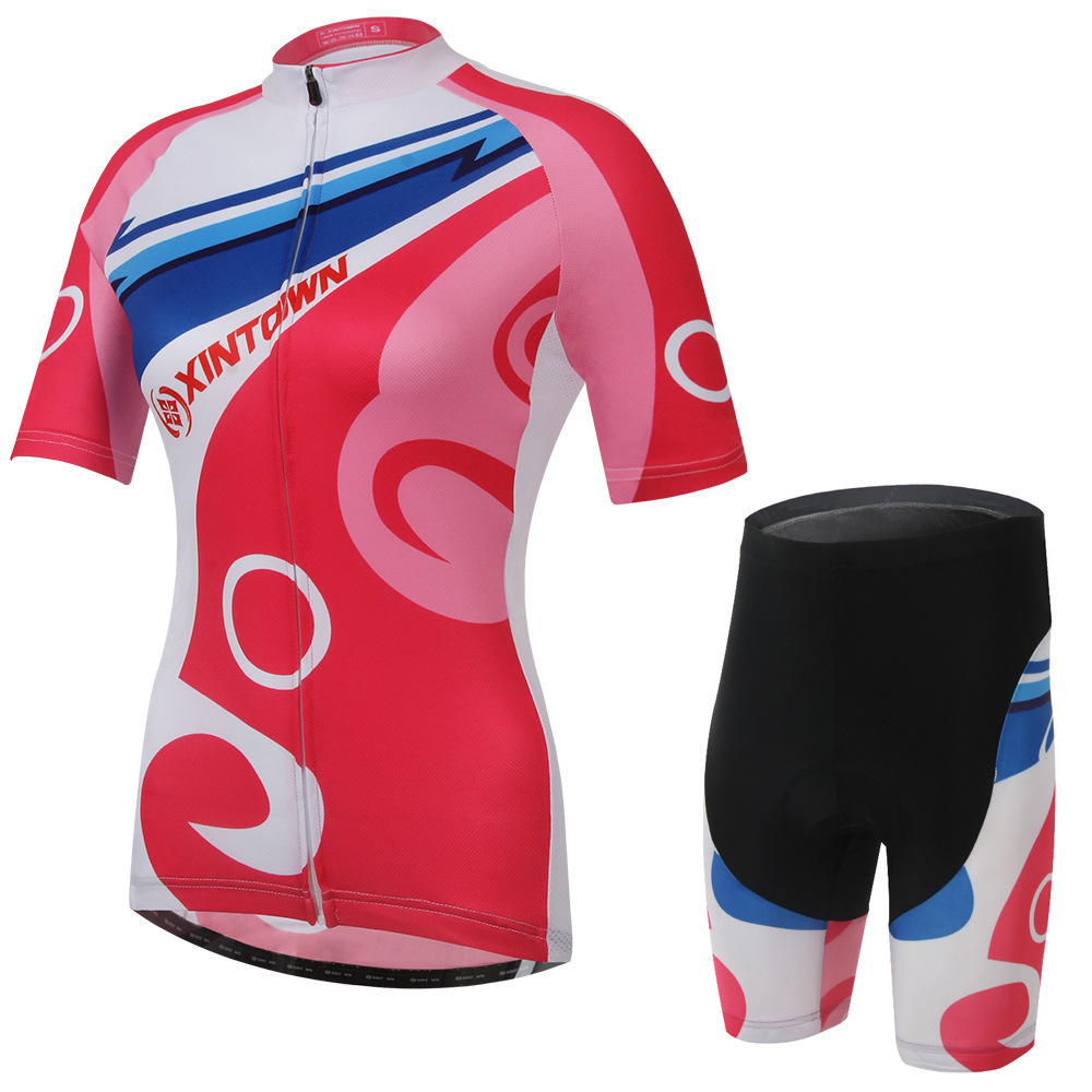 XINTOWN Women Cycling Jersey Sets Bike Team Cycling Clothes Short Sleeve Full Zipper GEL Breathable Pad Quick Dry Bike Clothing 2015 blue fdj team cycling jersey quick dry breathable cycling shirts bike shorts set gel pad cycle maillot culotte full
