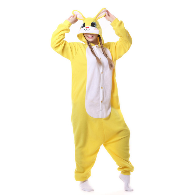 d1382faba762 Adult Pyjamas Cosplay Costume Yellow Rabbit Onesie Sleepwear Homewear  Unisex Pajamas Party Clothing For Women Man