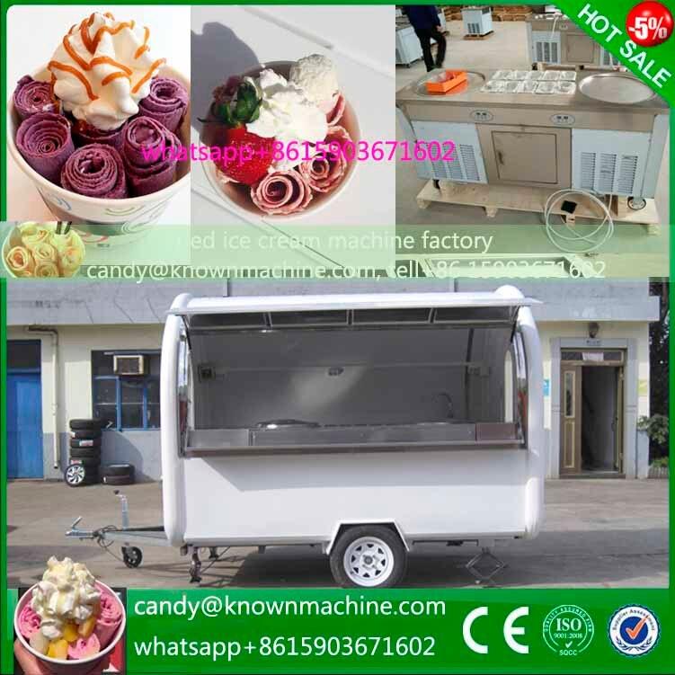 Горячие Продажи Питания Прицепа жареное мороженое машина ролика